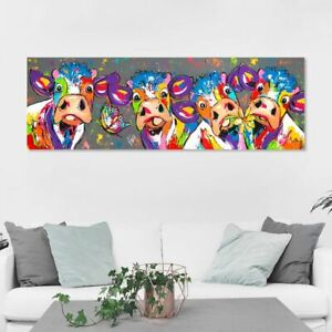 Wall Art Canvas Cow Painting Colorful Animal Picture Poster Print For Home Decor
