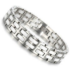 "Tungsten Mens Ladies Bracelet, Bangle, Silver And White Colour, 7.9"", KB897"