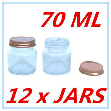 12 x Mini Dessert Candy Glass Jar w/h Screw Top ROSE GOLD Lid AIRTIGHT 70ml A
