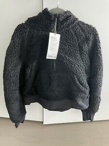 NEW LULULEMON Oh So Sherpa Scuba Half Zip Hoodie Jacket SzM/L Black New W/Tags