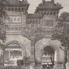Gravure de presse 1864 - - La Chine - Pékin   Vue du temple de Conficius