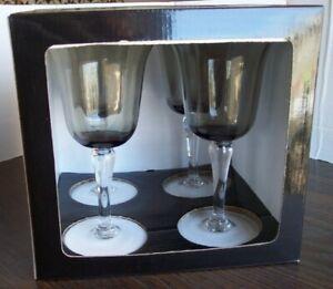 Sapphire Elite 18oz Smoke Color Goblets Glasses NIB See Pics