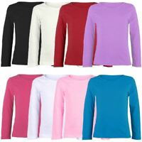 Kids Plain Basic Top Long Sleeve Girls Boys Uniform T-Shirt Tops Age 2-13 Years