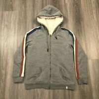 Quiksilver Womens Large Gray Faux Fur Lined Hoodie Jacket Striped Sleeves