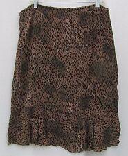 CHICOS Lined Brown Ruffle Cheeta Leopard FUN 2 M Skirt Rayon Career $4.50 SHIP