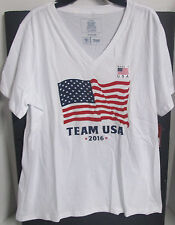 NWT LADIES WHITE USA TEAM APPAREL 2016 OLYMPIC SS V-NECK SHIRT SIZE LARGE# 189-A