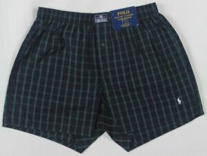 Ralph Lauren Classic Fit Green Plaid Boxer Shorts White Pony NWT