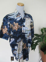S NATURAL ISSUE HAWAIIAN BOATS blue fish maps pacific COTTON shirt wrinkle free