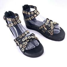 INUOVO Black Leather Gladiator Sandals Gold Grommet Punk Goth Sz 37 7 MINT