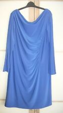 ELEGANT BLUE LONG SLEEVED DRESS, SLIGHT COWL NECK, RUCHED AT THE WAIST ON LEFT