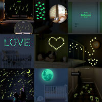 Glow in the Dark Stars Wall Stickers Luminous Decals Fluorescent Bathroom Mural