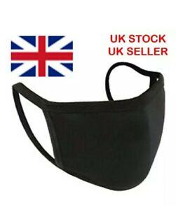 100% Cotton Face Mask Black  washable double-layer reusable  (Adult size)