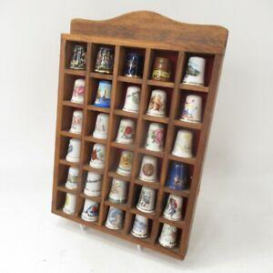 Wooden Frame Thimble Collection x 30  Mixed Theme Bundle - Bone China - Lot C