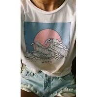 So It Is Ocean Wave Aesthetic T-Shirt Women Tumblr White Fashion X2T1