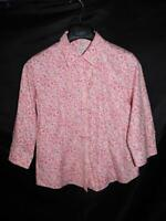 LL Bean PM Pink Blue White Floral Shirt 3/4 Sleeve Wrinkle Free Cotton Petite M