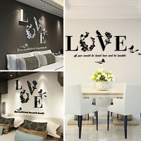 3D Removable Art Vinyl Quote Leaf LOVE Wall Sticker Decal Mural Home Room Decor