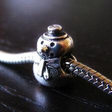Snowman European Bead - Winter Themed Charm For European Charm Bracelet Chains