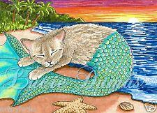 ACEO art print Cat Mermaid 23 ocean, sea, sunset from painting by L.Dumas