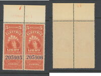 MNH $5 Q. Victoria Electric Light Inspection Inscription Pair #FE16 (Lot #RR122)