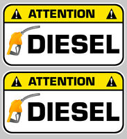 2 X ATTENTION DIESEL GASOIL CARBURANT 7cm AUTOCOLLANT STICKER  DA128