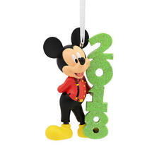 Disney 2018 Dated MICKEY MOUSE Christmas Ornament Hallmark Suspenders red Bowtie