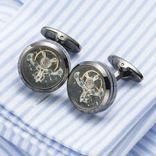 Black Tourbillon Steampunk Watch Mechanism Wedding Cufflinks