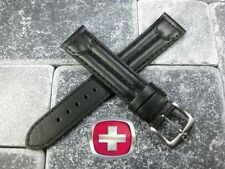20mm SWISS ARMY CAVALRY MILITARY Black Leather Strap Watch Band Wenger Large L