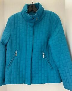 Jane Ashley Casual Lifestyle Women's Quilted Aqua Blue Jacket - Size M - Zip up.