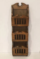 Vintage Wood Wall Mount  3 Slot Rack Wall Letter Mail Bill Holder