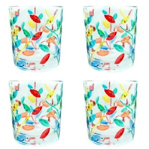 Set of 4 Four Murano Glass Drinking Tumbler Multi Coloured Hand Painted Flower