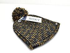 Roxy Romantic RDV Beanie Knit Hat Black Brown Grey Lurex Pom New! NWT