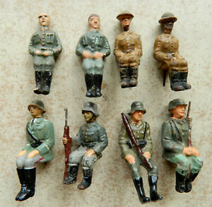 8 Elastolin Lineol original composition 7cm WWI army seated toy soldiers figures