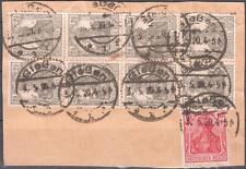 """DR 98 Achterblock mit Vollstempel """"GIEßEN"""" auf Briefstueck  #b659"""