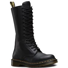 Doc Dr Martens Ladies 1b99 Soft Virginia Nappa 14 up Leather Tall BOOTS 6 UK Black