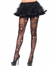 PLUS SIZE   Halloween Sugar Skull Black Fish Net Pantyhose 1x2x Leg Avenue 9982X