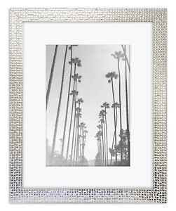 Henley Mosaic Photo Frame Silver White Bright Modern Mirror Picture Wall Mounted