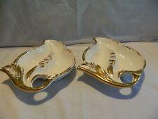 2 VINTAGE MAURICE OF CALIF. WHITE & GOLD SHELL SHAPE ASHTRAYS