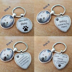 Personalised Lost Pet Glass Photo Keyring Keychain Cat Dog Memory Present P04
