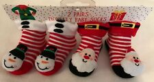 Baby Christmas Socks - 2 Pairs - Novelty Characters - 0-3 Months - Brand New