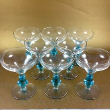 Eight Vintage Bryce Crystal 894 CERULEAN BLUE Stem Liquor Cocktail Glasses 4 7/8