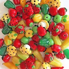 24 Handmade Lampwork Glass Fruit Vegetable Novelty Bead Lot Berry Apple Harvest