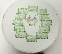"Antique Patriotic USA Flags Calendar Plate 1909 - Wall Hanging - 7.5"" Porcelain"