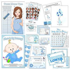 BLUE BABY SHOWER GAMES- Boy, Bingo, Labour, Mummy, Guess, Quiz, Tummy, Winner