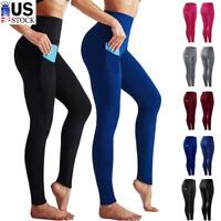 Womens Stretch High Waisted Leggings Long Workout Gym Pants Fitness With Pocket