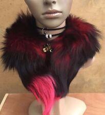 SPRAY rosso chiaro nero Vera Real Fox Tail Fur collar sciarpa Scalacollo Scialle Stola
