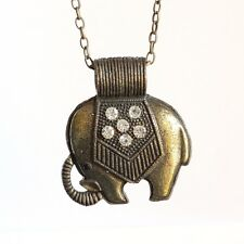 Elephant Rhinestone Pendant Necklace with 28Inch Oval Chain