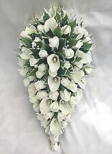 BRIDES TEARDROP BOUQUET, CALA LILIES, IVORY ROSES, ARTIFICIAL WEDDING FLOWERS
