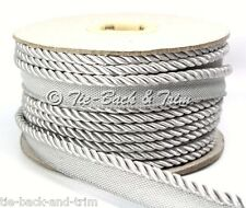 7020 Silky 6mm Flanged Rope Piping Upholstery Insertion Cord - per Metre 489 Silver Grey