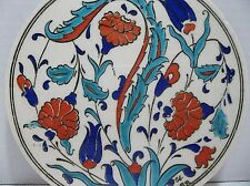 Vintage Iznik CINI Turkish Pottery TILE Turquoise Blue CARNATION Grand Caglar 56