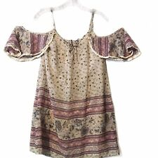 Society Girl strappy off the shoulder floral tunic size small